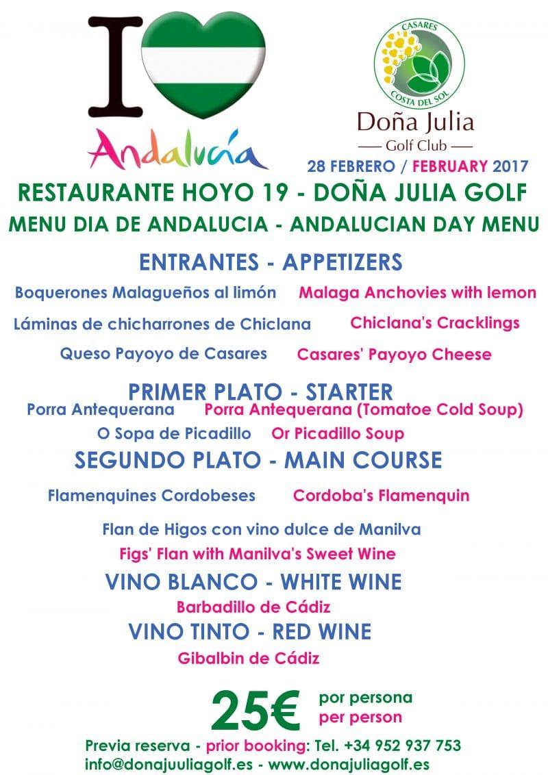 Menu Día de Andalucía Doña Julia Golf