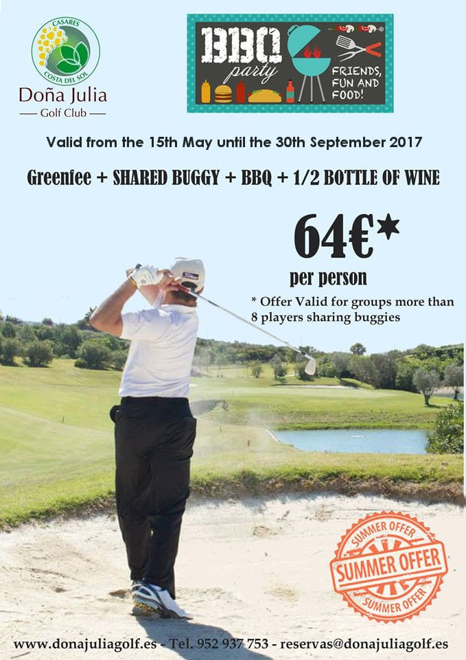 SUMMER GOLF & BBQ OFFER DONA JULIA 2017