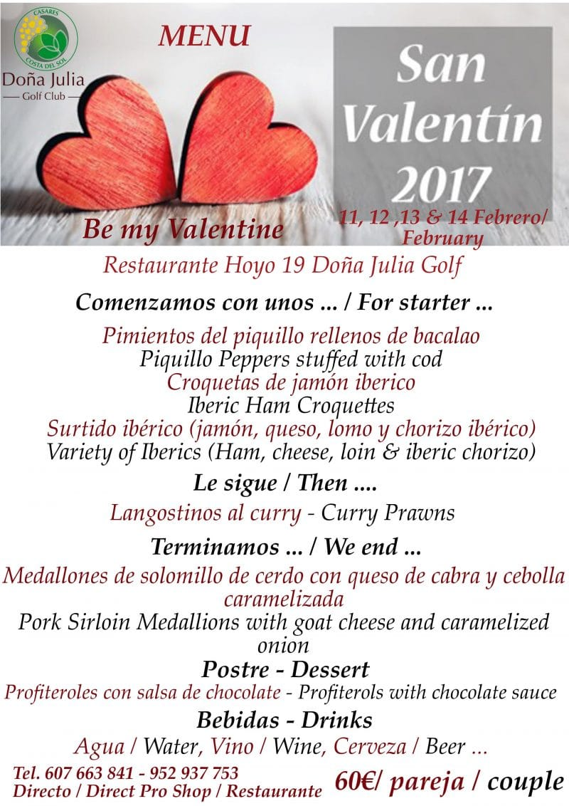 menu san valentin 2017 Doña Julia Golf
